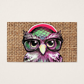 Cool  Colorful Tattoo Wise Owl With Funny Glasses