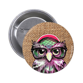 Cool  Colorful Tattoo Wise Owl With Funny Glasses 6 Cm Round Badge