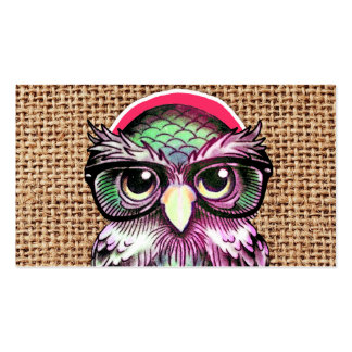 Cool Colorful Tattoo Wise Owl With Funny Glasses Business Card