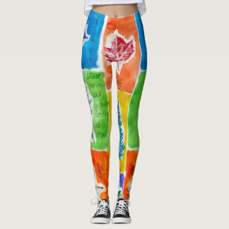 Cool Colorful Trendy Watercolor Leaf Pattern Leggings