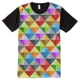 Cool Colorful triangles geometric pattern All-Over Print T-Shirt