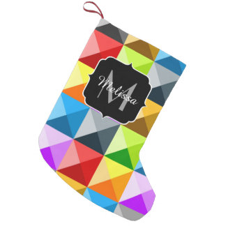 Cool Colorful triangles geometric pattern Monogram Small Christmas Stocking