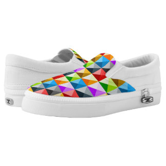 Cool Colorful triangles geometric pattern Slip On Shoes