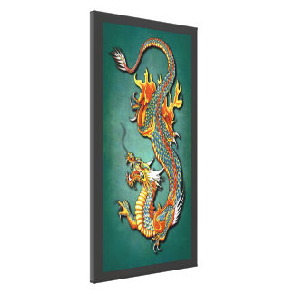 Cool Colorful Vintage Fantasy Fire Dragon Tattoo Canvas Print