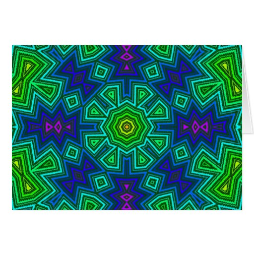 Cool Colors Kaliedscope Greeting Cards