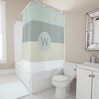 Cool Colors Minimalist Stripes with Monogram Shower Curtain