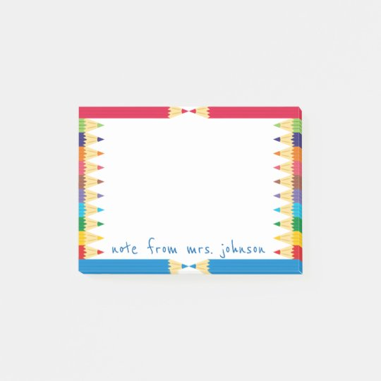 Cool Coloured Pencil Boarder Post-it Notes