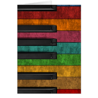 Cool colourful antique grunge effect piano greeting card