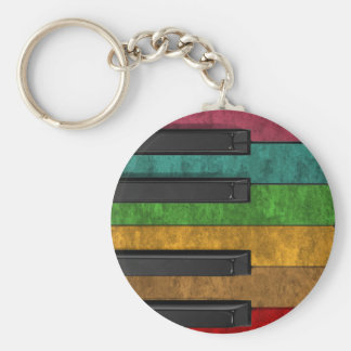 Cool colourful antique grunge effect piano key ring
