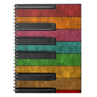 Cool colourful antique grunge effect piano notebook