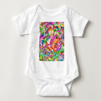 cool colourful bright flowers hearts background baby bodysuit