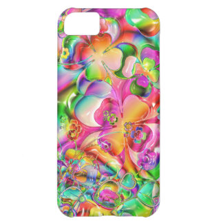 cool colourful bright flowers hearts background case for iPhone 5C