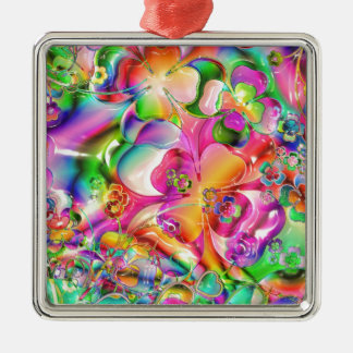 cool colourful bright flowers hearts background christmas ornament