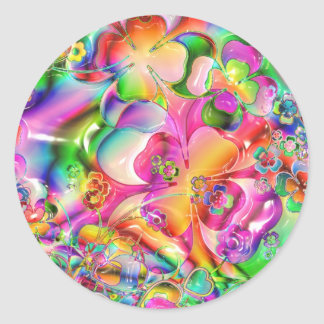 cool colourful bright flowers hearts background classic round sticker