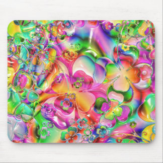 cool colourful bright flowers hearts background mouse mat