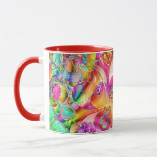 cool colourful bright flowers hearts background mug