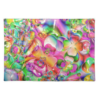 cool colourful bright flowers hearts background placemat