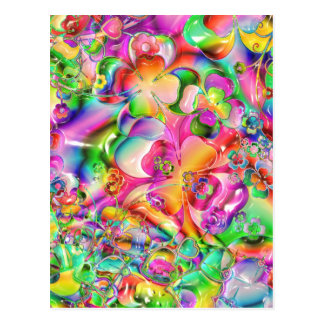 cool colourful bright flowers hearts background postcard