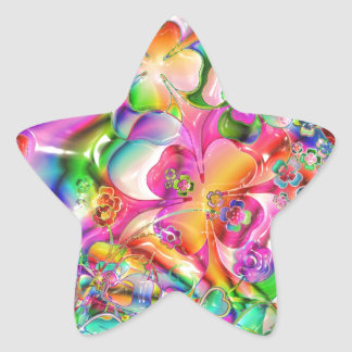 cool colourful bright flowers hearts background star sticker