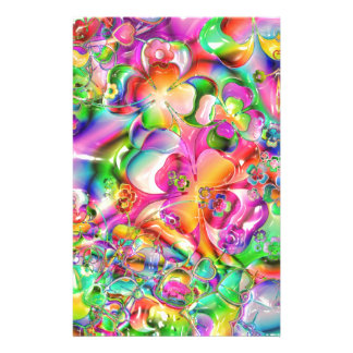 cool colourful bright flowers hearts background stationery