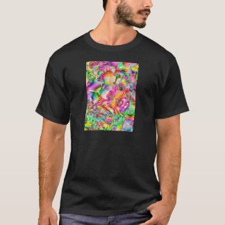 cool colourful bright flowers hearts background T-Shirt