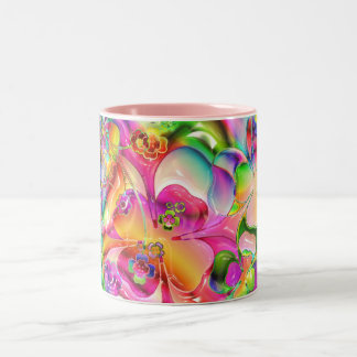 cool colourful bright flowers hearts background Two-Tone coffee mug