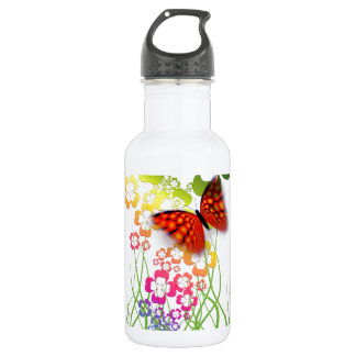 cool colourful butterfly and  clovers 532 ml water bottle
