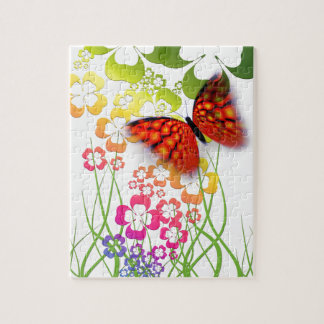 cool colourful butterfly and  clovers jigsaw puzzle