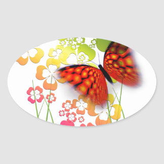cool colourful butterfly and  clovers oval sticker