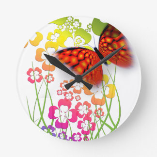 cool colourful butterfly and  clovers round clock