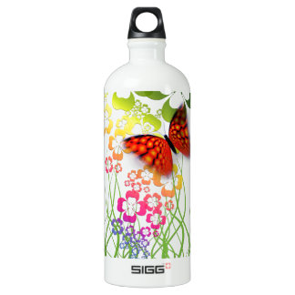cool colourful butterfly and  clovers water bottle