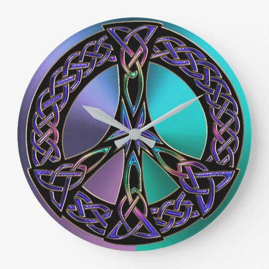 Cool Colourful Celtic Knot Peace Sign Clock