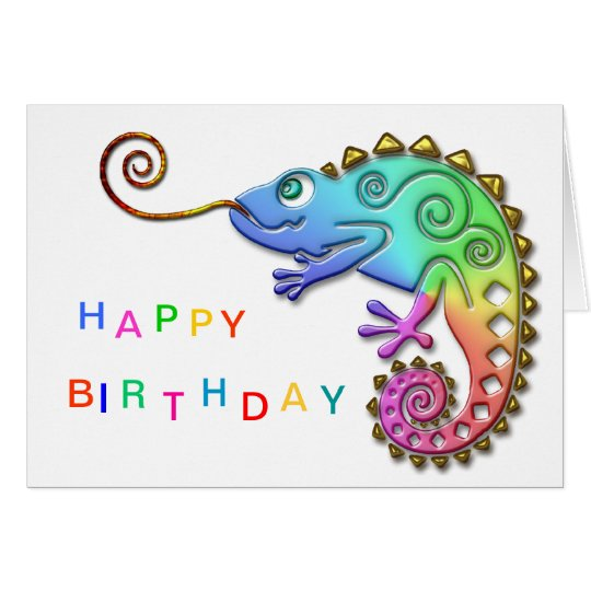 Cool Colourful Chameleon Birthday Card