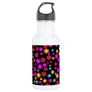 Cool colourful floral pattern black background 532 ml water bottle
