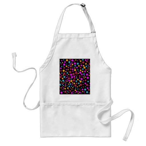 Cool colourful floral pattern black background apron