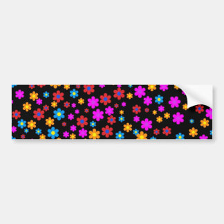 Cool colourful floral pattern black background bumper sticker