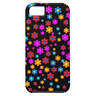 Cool colourful floral pattern black background iPhone 5 covers