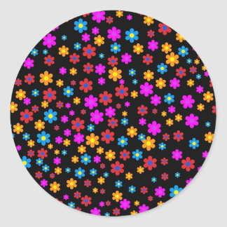 Cool colourful floral pattern black background classic round sticker