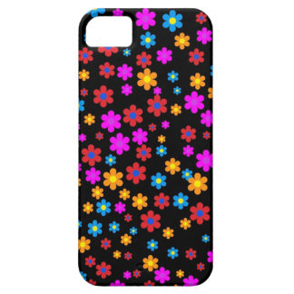 Cool colourful floral pattern black background iPhone 5 cases