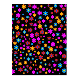 Cool colourful floral pattern black background postcard