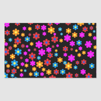 Cool colourful floral pattern black background rectangular sticker