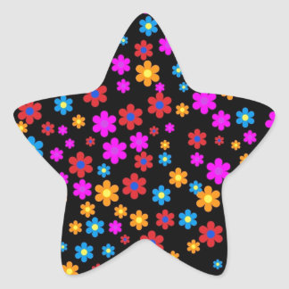 Cool colourful floral pattern black background star sticker