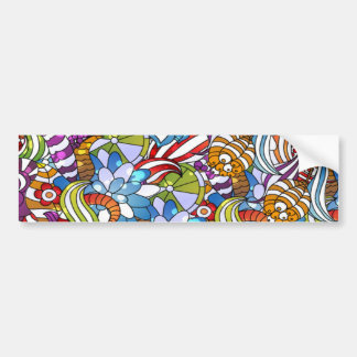 Cool colourful flowers leaves swirls wheels dots bumper sticker