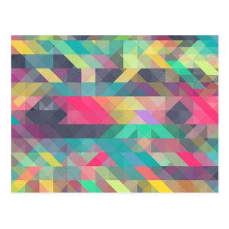 Cool colourful geometric triangles pattern postcard