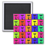 Cool Colourful Kitty Cat Pop Art Square Magnet