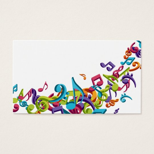 cool colourful music notes and sounds business card