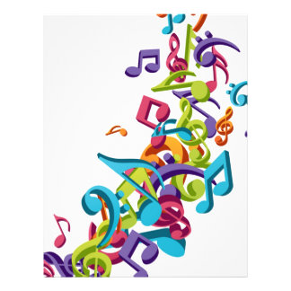 cool colourful music notes and sounds flyer