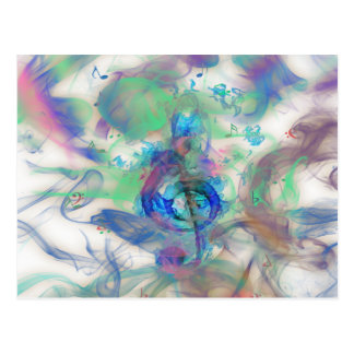 Cool colourful music notes smoke effects image postcard