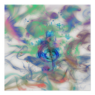 Cool colourful music notes smoke effects image poster