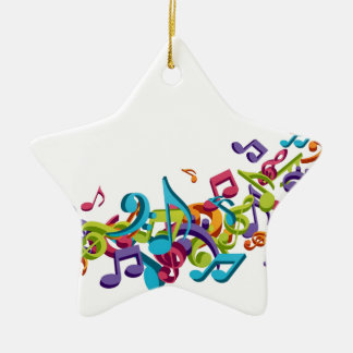 cool colourful music notes & sounds art image Double-Sided star ceramic christmas ornament